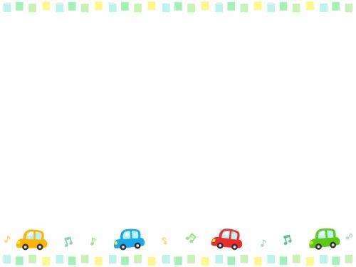 車と音符とカラフルな四角の上下フレーム飾り枠イラスト Borders