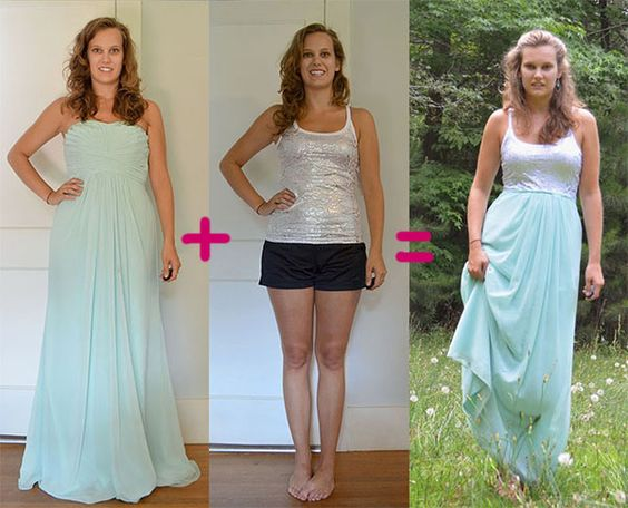 51 Bridesmaid Dress & Tank Top Refashion to Maxi Dress