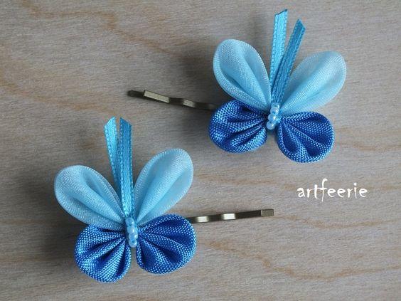 Haarklammern - Haarklammer-Set*Schmetterling*Hochzeit*Blau* - ein Designerstück von artfeerie bei DaWanda