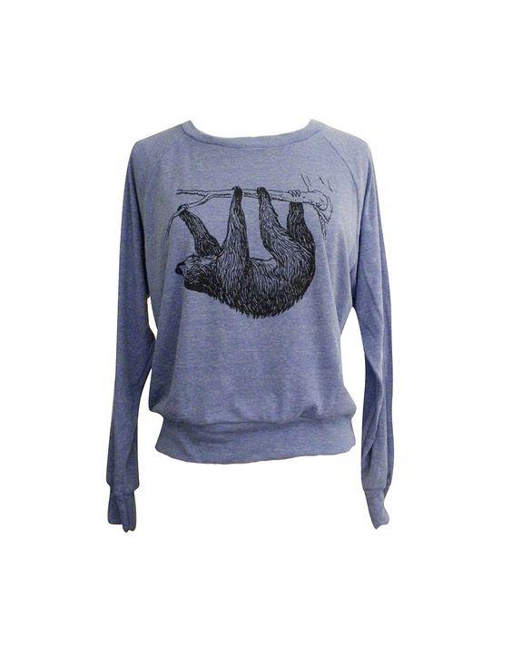 SLOTH Raglan Sweatshirt - American Apparel SOFT vintage feel - Available in sizes S, M, L. $25.00, via Etsy.