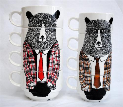 Mr Tweed Bear coffee cups @etsy.com