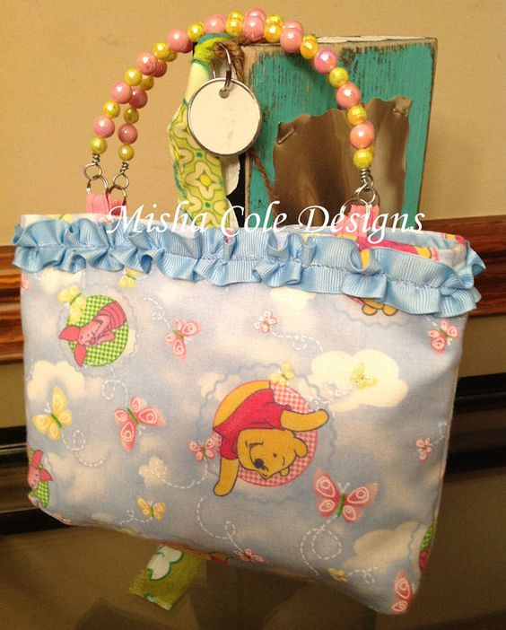 Light Blue Winnie Pooh Purse with Ribbon Trim by mishacoledesigns, $12.00