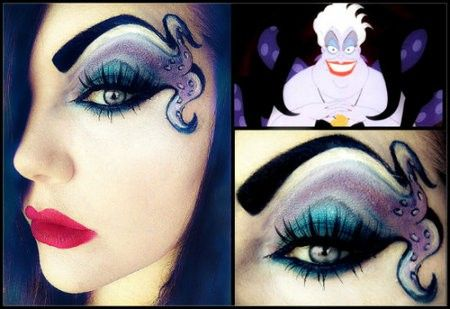 Eye make-up inspired by Ursula, the sea witch, from The Little Mermaid.