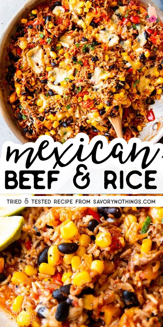 Super Easy Mexican Beef and Rice Skillet