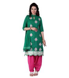 Buy Green embroidered cotton unstitched salwar with dupatta cotton-salwar-kameez online