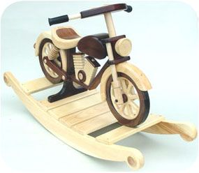 The plans to build this motorcycle are only 15 dollars for Scooter rocking horse