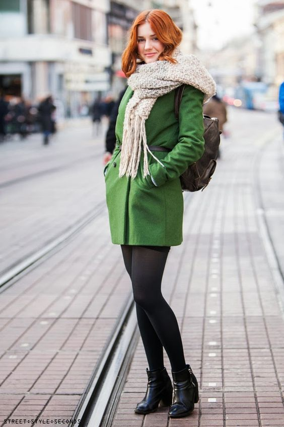 Canada Goose toronto sale cheap - Green coat and red hair woman - stand out against the snow! | Una ...
