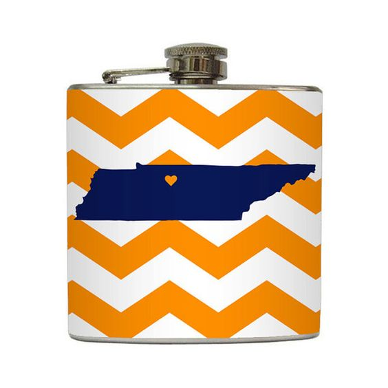 Tennessee Whiskey Flask Custom State with Heart on Chevron Stripes $20