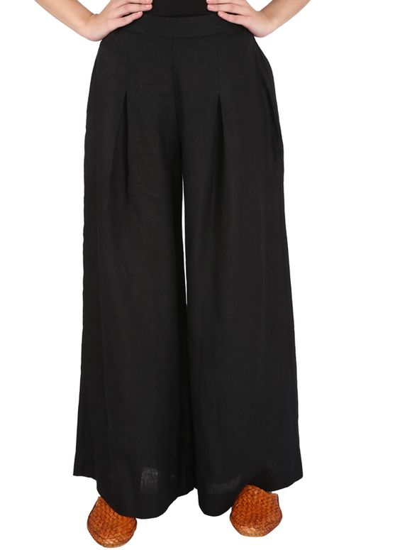 Black pure linen pants with regular flare. It has inverted box pleat and back elastic.