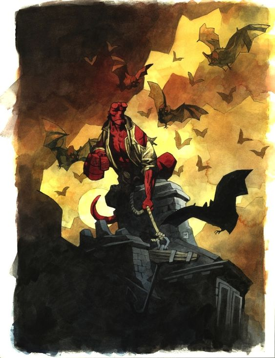 Book Cover Watercolor Paintings : Hellboy book cover painting comic art fun with comics