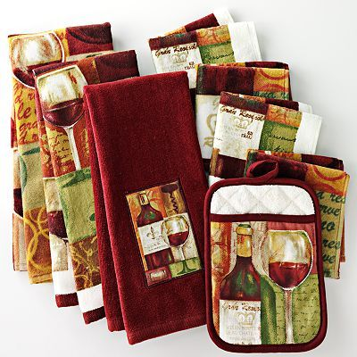 Wine kitchen towels pot holders wine themed kitchen for Wine and grape themed kitchen ideas