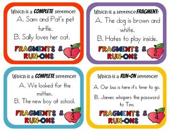 Run-on Sentences and Sentence Fragment Pack | Quizzes and answers ...
