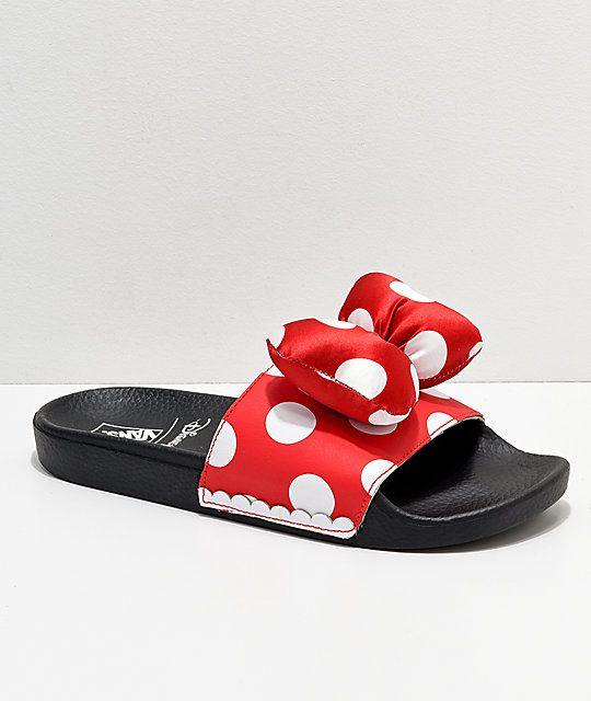 Vans Minnie's Bow Red Slide-On Sandals