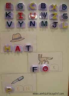 ABC Magnet words. Such a great idea!