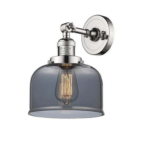 Innovations Lighting Large Bell Polished Nickel One Light Wall Sconce With Smoked Dome Glass 203 Pn G73 Innovations Lighting Sconces Adjustable Sconce