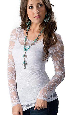 Long Sleeve White Lace Shirt