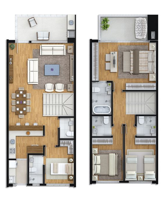 Planta tipo 1 3 suites 1 dorm house and office for Planos para casas modernas pequenas
