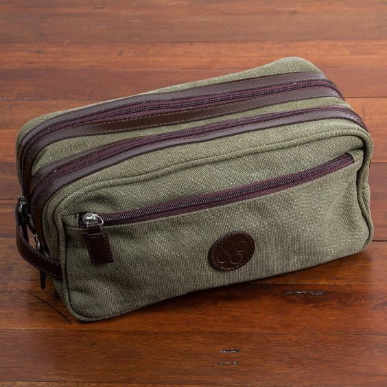 Novica Handcrafted Men's Leather Accent Cotton 'Olive Textures' Travel Case
