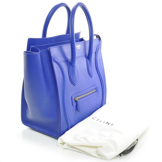 CELINE Smooth Leather Mini Luggage Bag Cobalt Blue