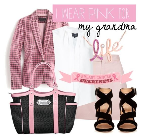 """breast cancer awareness"" by cherryoblossom ❤ liked on Polyvore featuring J.Crew, Lanvin, Derek Lam, The Bradford Exchange, Gianvito Rossi, Kobelli and IWearPinkFor"