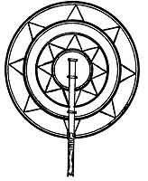 Fan with Mu's symbol, eight pointed sun Gilbert Islands