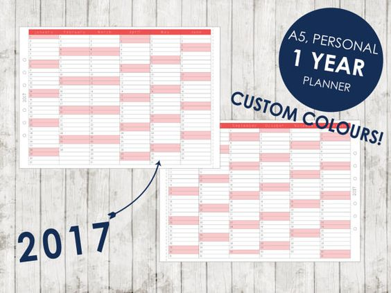 Custom 2017 1 Year Planner A5 Personal By