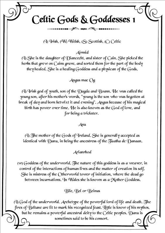 Book of Shadows:  #BOS Celtic Deities 1 page.