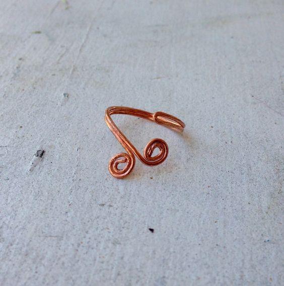 Copper Ring sizes 5 - 11, bare copper 1.02mm, 18 Ga, adjustable ring ...