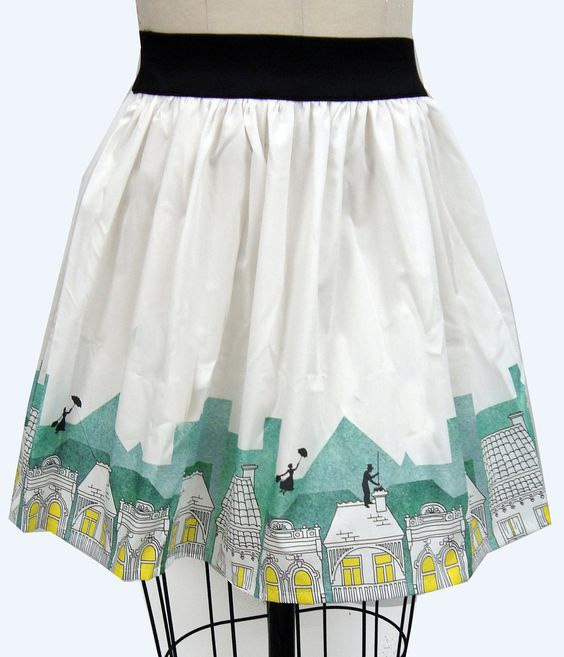 Spoonful of Sugar Border Print Full Skirt via Go Follow Rabbits on Etsy $45.99: