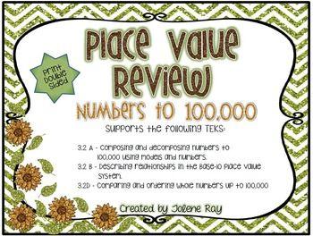 Place Value Unit 1 Review: TEKS 3.2A, 3.2B, 3.2D & CCSS: 4.NBT.A.2 ...