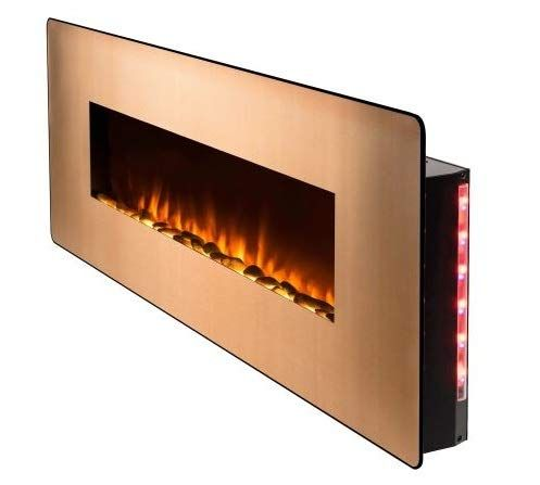 Wall Mount Fireplace Electric Fireplace Heater Gold Glass 48 Inch