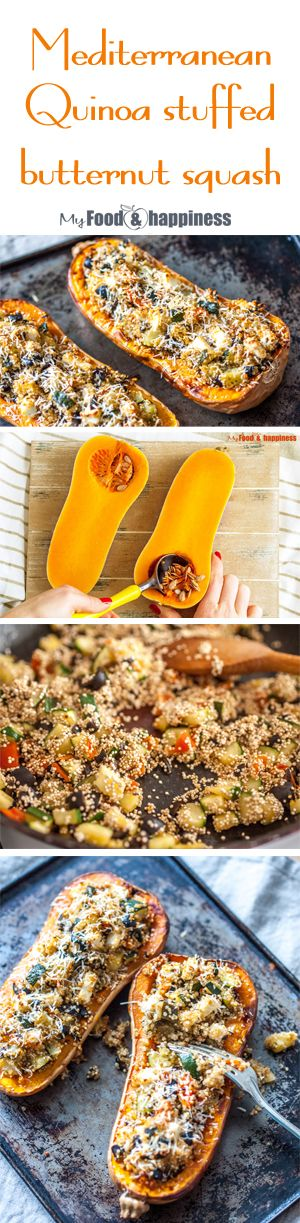 Make it tonight! Healthy vegetarian Mediterranean Quinoa stuffed butternut squash. Delicious roasted squash, stuffed with Feta, veggies and quinoa mix. Easy and simple recipe for a nutritious meat-free meal! Skip the cheese to make it vegan!