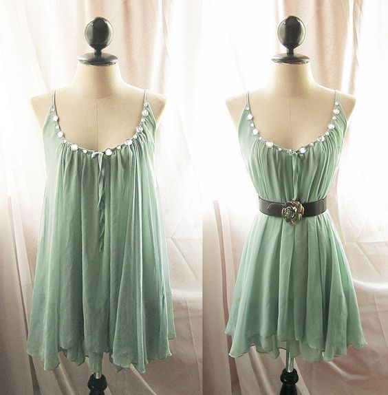 Really pretty minty colored dress!!! :]]]