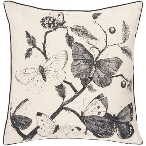 Butterfly Khaki 22 X 22 Pillow Surya Rugs Accent Pillows Throw Pillows Bedding