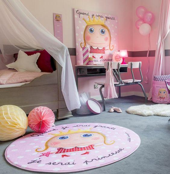 Chambre enfant fille princesse tapis sac jouets tableau tirelire sac dos disponibles for Grande chambre fille