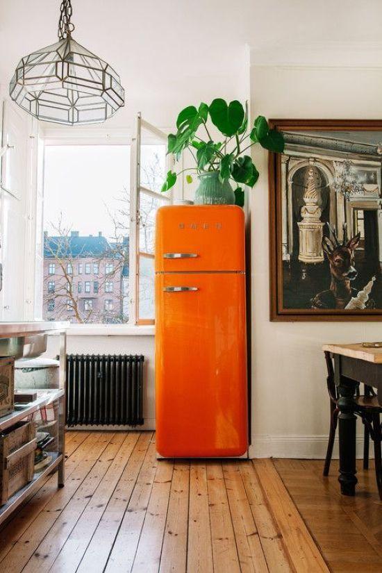 Kitchen Decor With A Bright Orange Fridge In 2020 Interior Design Kitchen Colorful Kitchen Appliances Interior #refrigerator #in #living #room