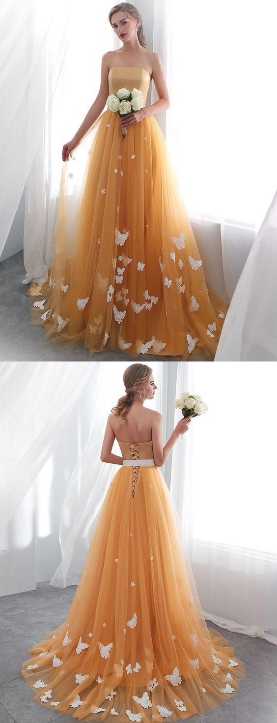 Fashion A Line Strapless Orange Long Prom Dress