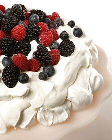 Pavlova  This recipe for pavlova, a light meringue dessert, comes courtesy of actor Geoffrey Rush.