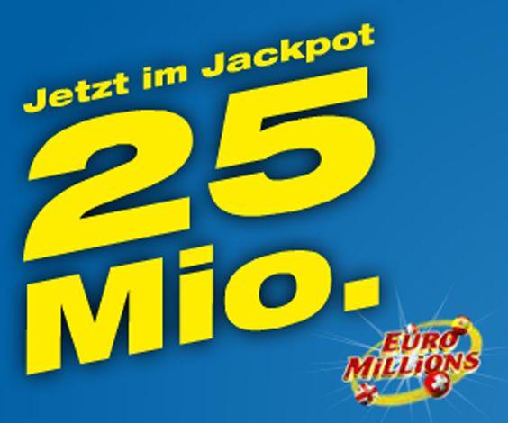 Am Freitag kann man mit Euro Millions bis zu 25 Millionen gewinnen!  Setze jetzt dein Spielguthaben ein und werde Multimillionär!  Hier 25 Millionen Franken gewinnen: http://www.gratis-schweiz.ch/25-millionen-mit-swisslos-gewinnen/  Alle Wettbewerbe: http://www.gratis-schweiz.ch/