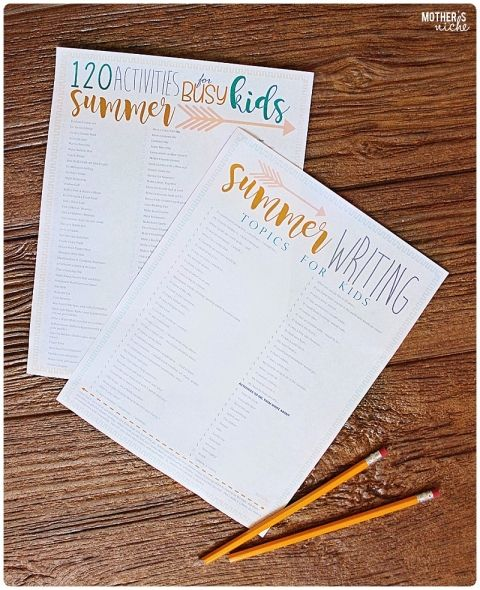summer activities and writing list