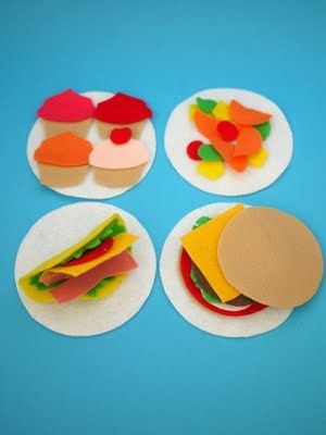 Felt food play mats.  Such a cute idea!