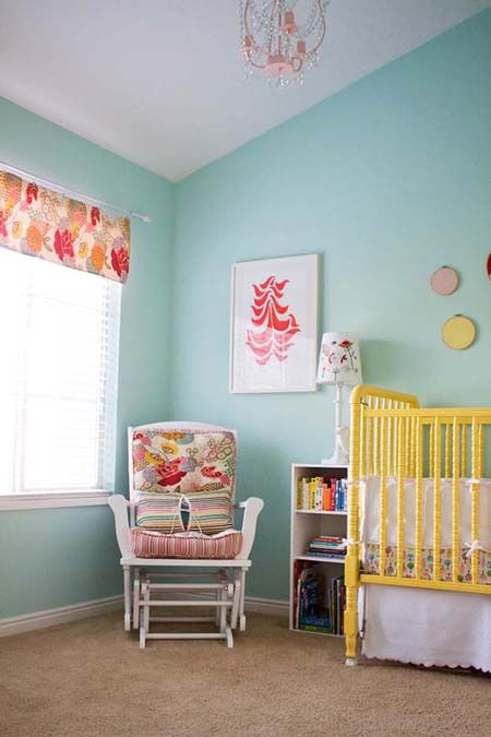 great color scheme for Emma's room Benjamin Moore paint called Robin's Nest (Color #618)