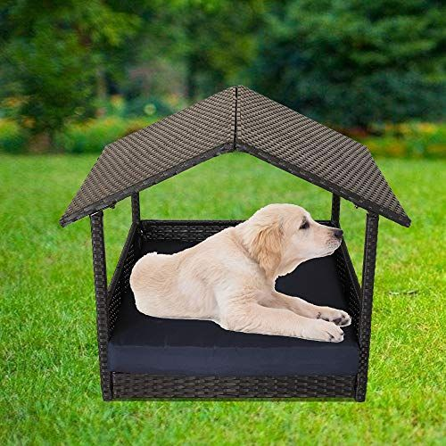 Leaptime Outdoor Rattan Pet Home Indoor Patio Pet Dogs House Garden Wicker Bed For Pet With Black Rattan Navy Cushion Dog Pet Beds Pet Playpens Pets