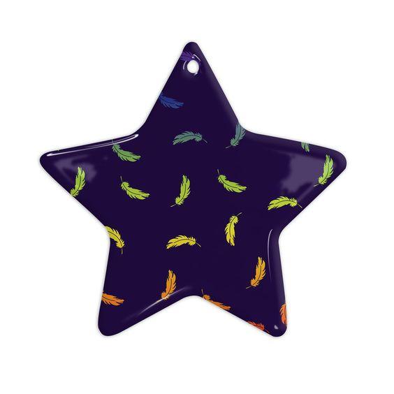 "KESS Original ""Rainbow Feathers"" Navy Blue Ceramic Star Ornament"