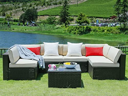 Enjoy Exclusive For N V Patio Furniture Set 7 Pieces Modern Outdoor Furniture Sofas Seat Cushions Pillows Tea Table Glass Top Lumbar Pad Blanket Fashion Couc In 2020 Outdoor Furniture Sofa Modern