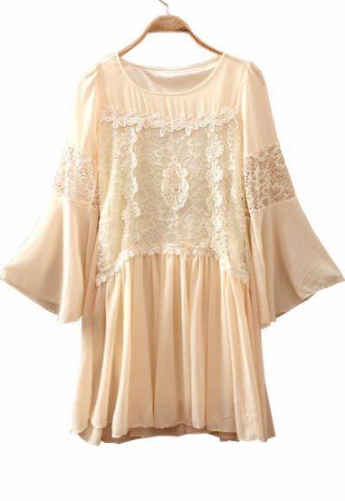 #sheInside  Beige Round Neck Lace Embroidery Chiffon Dress