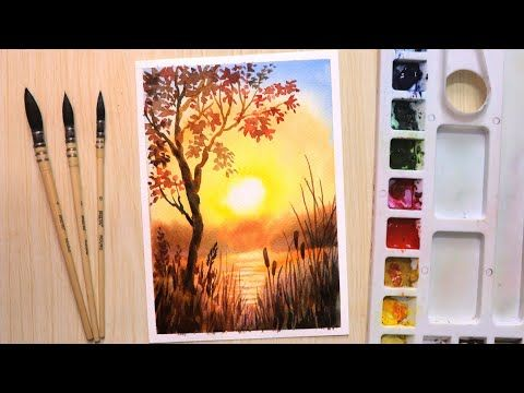 Watercolor Painting For Beginners Beautiful Sunset And Tree