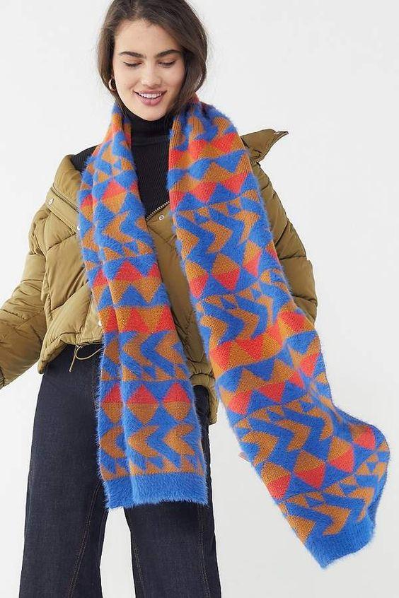 Urban Outfitters Geo Eyelash Sweater Scarf