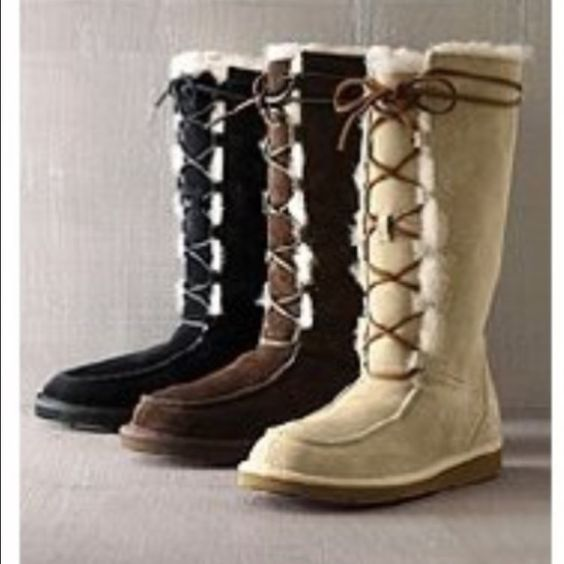 Ugg Boots // light tan // tall lace up. Authentic Ugg boots tall leather lace up. Worn once. UGG Shoes Winter & Rain Boots