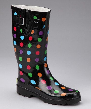 Take a look at this Black Multi Polka Dot Rain Boot by Chooka